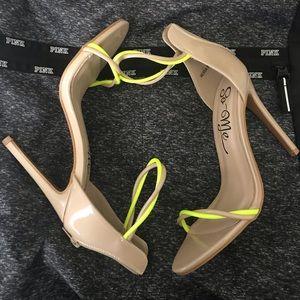 Beige/Neon Heels